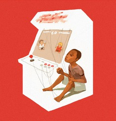 ilustracion de sachin teng de un niño dentro de un arcade