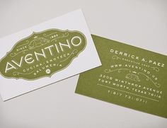Aventino | Jessica Hische #business #card #typography #pig #crest #type #green