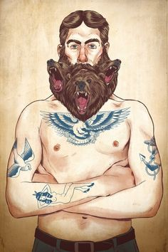 BEARd #beard #design #illustration #tattoo #strange #art #wolf