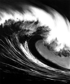 Photorealistic Charcoal Drawings of Epic Waves - My Modern Metropolis #ocean #water #surf #charcoal #crest #wave #illustration #sea #storm