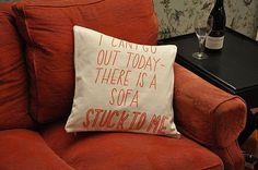 Stuck to a Sofa Cushion Cover #sally #2011 #of #ex #foundation #joy #beerworth