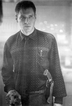 FUTURE NOIR #blackwhite #ford #bladerunner #costume #deckard #harrison #photography