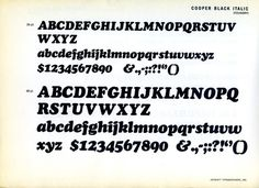 This is a type specimen of Oswald Cooper's 1926 classic Cooper Black Italic.
