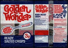 All sizes | UK - Golden Wonder - Great Cutlery Offer - 3p crisps packet - 1970's | Flickr - Photo Sharing! #type #typography