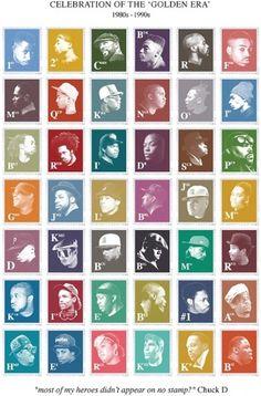 Madina | Shop | Golden Era of Hip-Hop T-Shirt and Poster #hop #stamps #hip