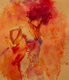 November Me #red #girl #chest #orange #warm #painting #art #watercolor