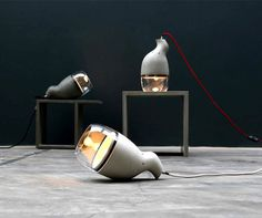 Concrete Meets Glass and Light - concrete lamps - idee folle #lamp #concrete #design #lighting #light