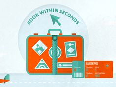BOOK WITHIN SECONDS icon 4 #illustration #texture #icons #sky #travel #airport #plane #fly #suitcase #ticket #iconset