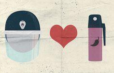 The love between police & tear gas #pepper #police #tear #illustration #gas #polis #love