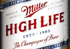 Miller High Life – Red White & Blue | Lovely Package #beer #miller #san #francisco #typography