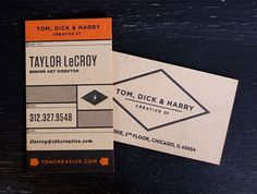 TDH_cards_2_800.jpg (JPEG Image, 748x565 pixels) #white #business #card #orange #black #collateal #grey
