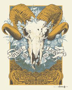 Daniel and the Lion - Summer Tour 2014 #datl #print #design #gig #on #screen #illustration #fire #horns #poster #man #skull #ram #flowers