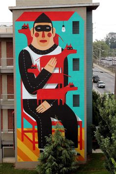 Street Art // Agostino Iacurci #mural #wall #mask #art #street #dog