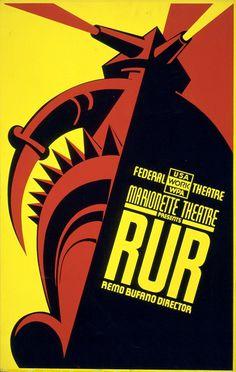 File:R.U.R. by Karel Čapek 1939.jpg #robot #theatre #czechpride #scifi #minimal #poster #capek #czech #rur #cool