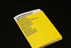 Contemporary Architecture → Zak Klauck / Bench.li #print #design #graphic #publication #typography