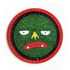 Maske . Tahta üzerine boyama 21x21 cm // Painting on wood 21x21 cm Fiyat:100 TL // 100$ ülke içi ücretsiz kargo. http://vimeo.com/m/8792 #buy #illustration #mask #monster #posca
