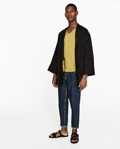 Image 1 of LINEN KIMONO from Zara