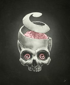 Open Your Mind! by Dr. Lukas Brezak #hypnotism #supernatural #mind #unwind #spiral #brain #illustration #skull