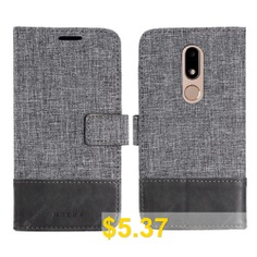 MUXMA #Durable #Canvas #Design #Flip #PU #Leather #Wallet #Case #for #Motorola #Moto #M #- #GRAY
