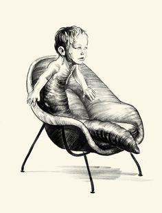 ©GREG RUTH #illustration #boy #horror #bug #larvae #chair #surreal #strange #black and white #drawing #sketch