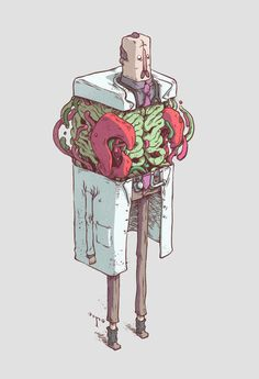 'Cubic' Characters by T-Wei #bizarre #cubic #scientist #insides #design #anatomy #illustration #strange #surreal #character