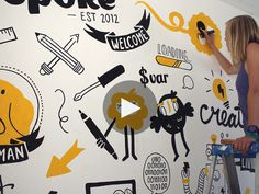 Mural for Wepoke (tech startup) in San Francisco #typography #wall murals #painting #doodle