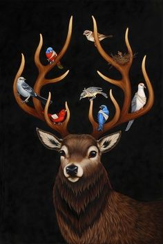 Opening: Flight and Fable - My Modern Metropolis #deer #fantasy #birds #illustration #fable