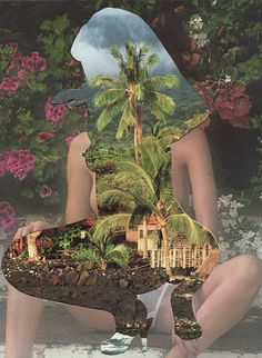 Dr.Me, collage #drme #collage #tropical #nude #cutout #cut #out #landscape #flowers #palm #trees #erotic