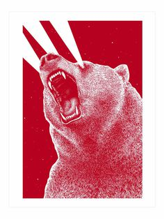 3rd eye Bear on Behance #red #roar #print #design #laser #eye #illustration #poster #art #animal