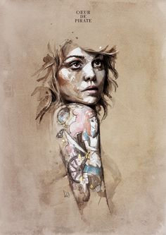 Chapter 02 on the Behance Network #woman #illustration #portrait #tattoo #shoulder #watercolour