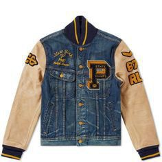 Preppy styling takes cues from retro Varsity jackets with this denim jacket from American outfitters Polo Ralph Lauren. The winter ready jacket is decorated with traditional athletic team patches with striped cuffs and contrasting leather sleeves. An Internal wool lining provides protection from the elements and three front pockets providing space for daily essentials. 100% Cotton Shell Leather Sleeves Wool Blend Lining Varsity Logo Badges