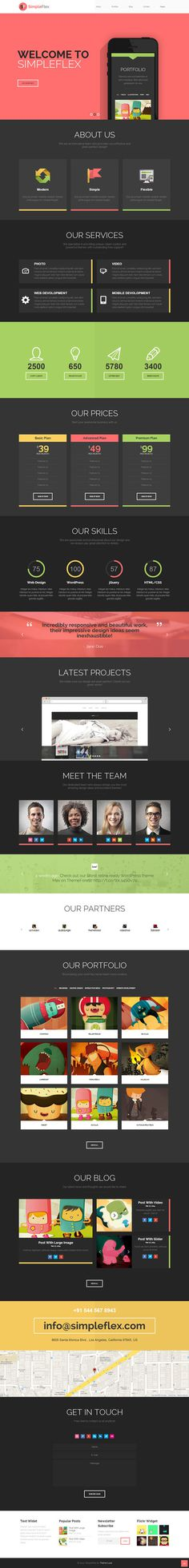Flat One Page WordPress Theme #flat #page #design #colors #concept #web #one #layout #dark