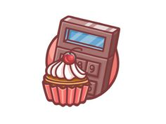 Wzwz_cake_calculator #calculator #illustration #cupcake