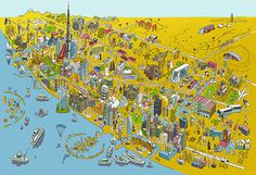 Dubai map illustration by Josh Cochran for Better Homesarabia #dubai #josh #map #cochran #illustration