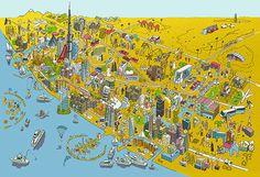 Dubai map illustration by Josh Cochran for Better Homesarabia #dubai #josh #map #cochran #illustration