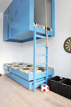 sleek + modern blue bunk beds in a kid's room #interior #design #decor #deco #decoration