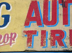 North America : TypArchive #blue #red #weathered #hand painted lettering
