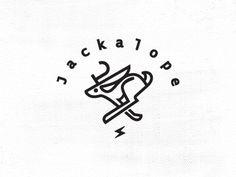 Jackalope_dribbble #mark #work #line #branding #bolt #logo #jackalope