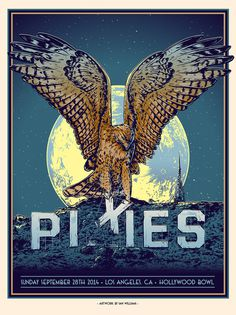 Tumblr #hollywood #screenprint #pixies #poster #hawk #moon