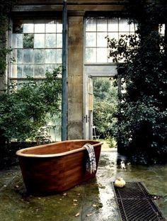 yes #interior #bath #wood #nature #garden