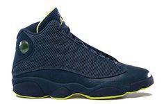 Jordans 13 Squadron Blue/Electric Yellow Nike Womens Size Shoes #shoes