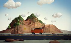 Road Trip on Behance #illustration #low #poly