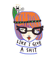 like i give a shit there's a naked rabbit on my head Art Print #illustration