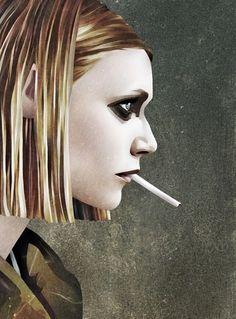 Margot by Ruben Ireland | Ismael Burciaga #woman #cigarette #texture #art #grunge #beautiful #smoking
