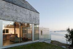 Cedar Shingles Cascading Down a Modern Courtyard House