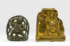 Gold-plated plaque with a wrathful deity and a plaque with Vajrapani