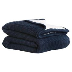 Cable Sherpa Knit Throw Navy 125cm x 150cm