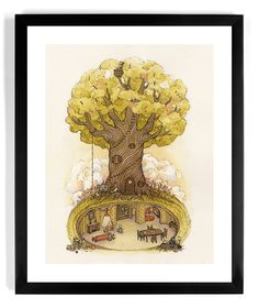 "The People's Print Shop - Nicole Gustafsson's awesome print, ""Fantastic Day""... #fantasy #tree #underground #design #illustration #art"