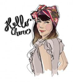 hello, there ! #fashion #illustration #scarf #hello