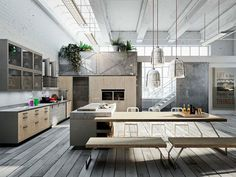 Loft Style Kitchen Design by Michele Marcon -#kitchen, #kitchens, kitchen ideas, kitchen design